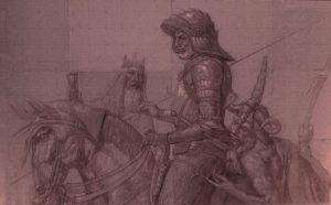 Ritter, Tod und Teufel; sanguigna,210 x 400 cm, 2004